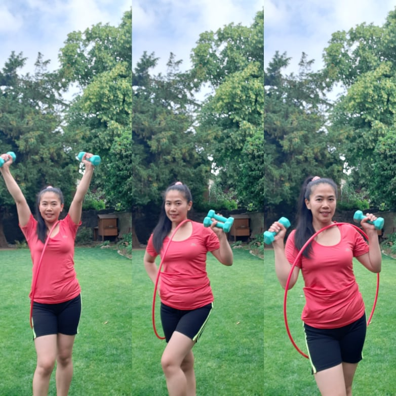 A woman posing in 3 different ways with a hula hoop