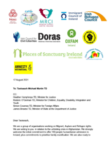 Screenshot of a letter from 12 NGOs about Afghanistan